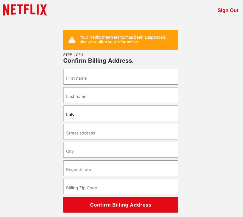 phishing netflix billing address