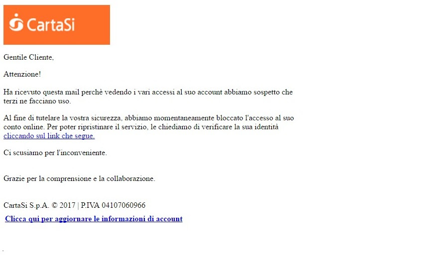 phishing cartasì