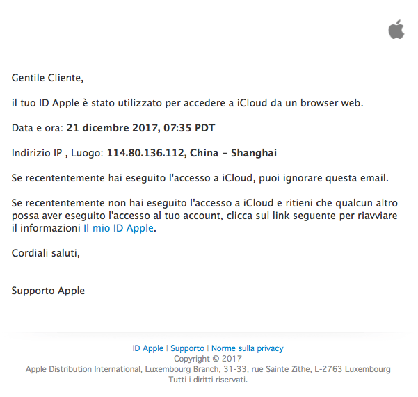 email phishing apple icloud accesso