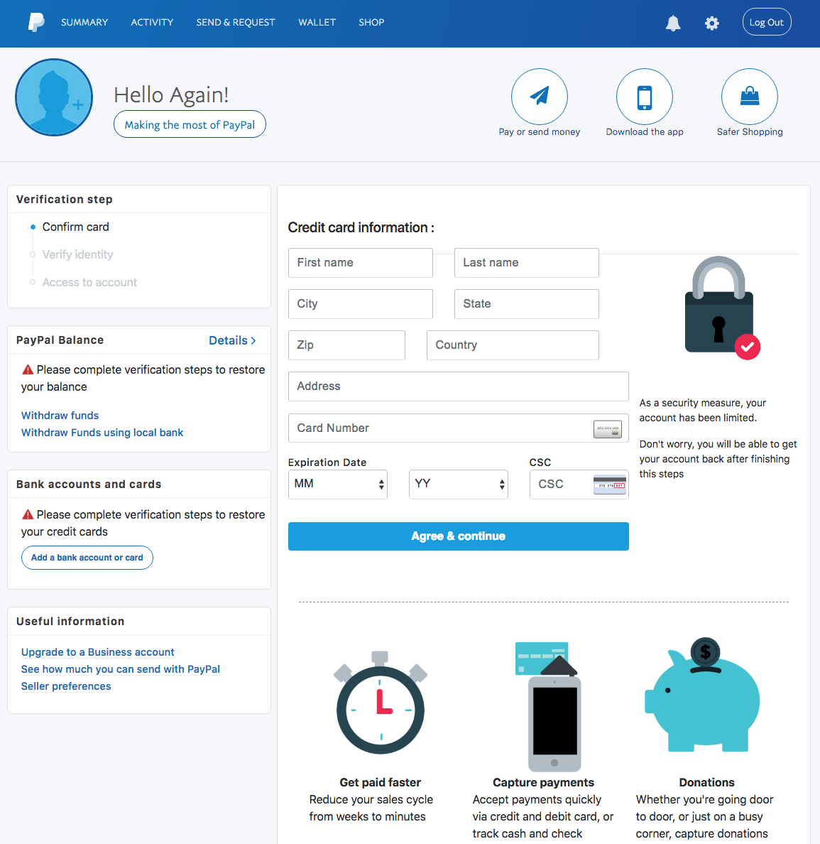 paypal phishing your account is limited
