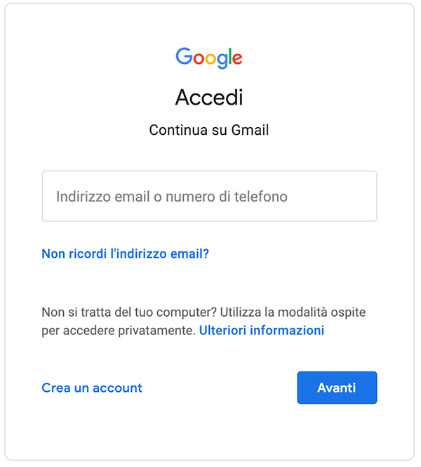 come accedere a gmail