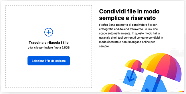 inviare grossi files firefox send