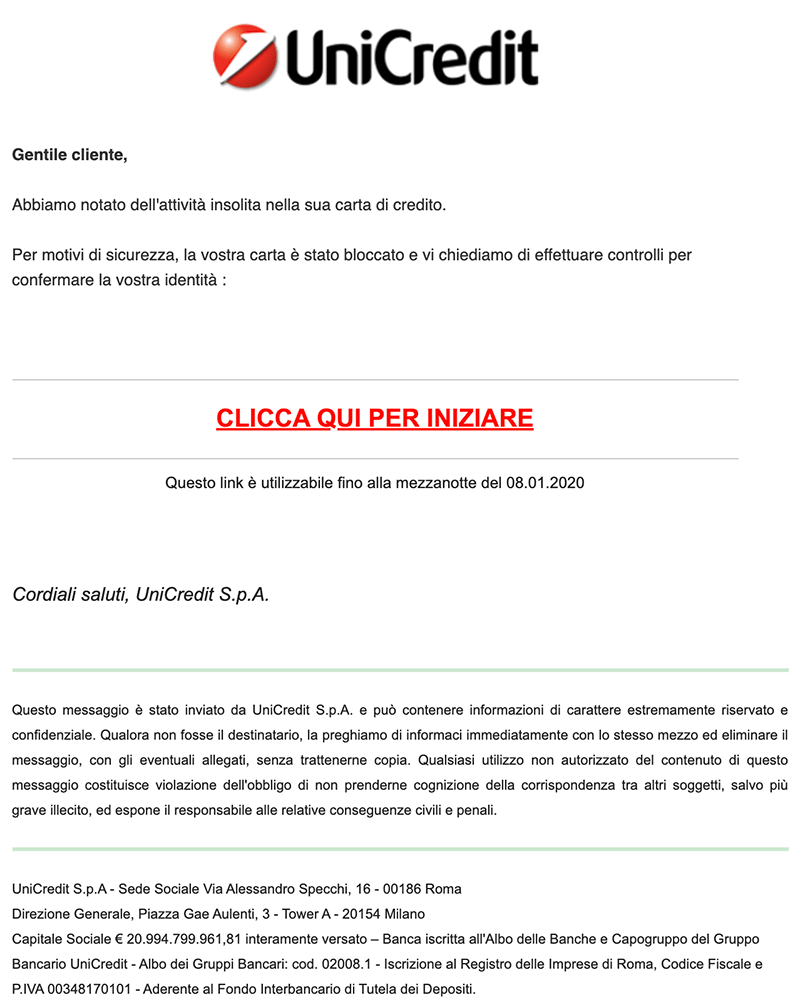 email phishing unicredit